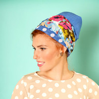 Blue head scarf – Floral headcovering  – Hair snoods –  Headpiece with dots