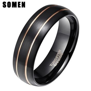 Somen Custom Name Wedding Anniversary Date Logos Jewelry 8mm Black Tungsten Rings Personalize Your Style