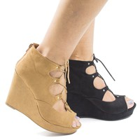 Parker43S Tan By Bamboo, Peep Toe Corset Lace Up Platform High Heel Wedge Sandals