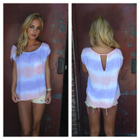 Coral & Purple Tie Dye Top