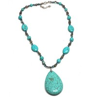 Stunning Green Turquoise Howlite and Multi Gemstones Crystals Necklace