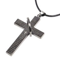 World Pride Cross Bible Pendant with Alloy Ring Snake Chain Necklace