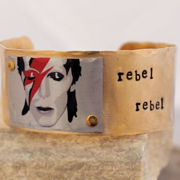David Bowie Rebel Rebel Cuff Bracelet in Raw Brass