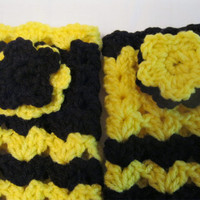 Fingerless Gloves in Black and Yellow Crochet with Floral Applique  for Women and Teen Girls Winter Fashion Accessory