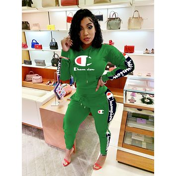 Champion Newest Popular Women Leisure Long Sleeve Hoodie Top Pants Two-Piece Sportswear Green
