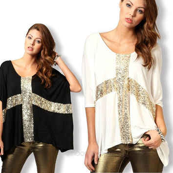 Fashion Women Cross Paillette Batwing Sleeve Loose Plus Size T-Shirt Tops Blouse = 1945829060