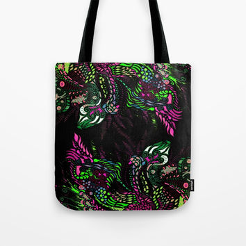 Swan Floral Tote Bag by ES Creative Designs
