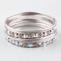 Full Tilt 8 Piece Turquoise/Texture/Flower Bangle Set Silver One Size For Women 24633914001