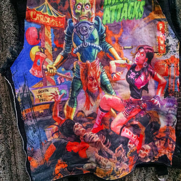 Mens Denim Leather Mars Attacks stage vest