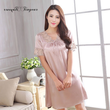 New seduction long satin nightgown hollow out lace v neck short sleeve breathable chemise de nuit super thin nightwear 3 colors