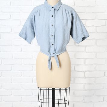 Chambray Cropped Button-Up