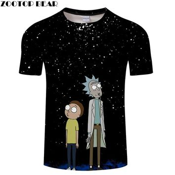"Rick and Morty ""The Infinite Rick"" 3D Printed Black T Shirt"
