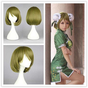 35cm Short LOVE LIVE Koizumi Hanayo Dark BROWN Lolita Straight Cosplay Party Wig Synthetic Hair Cosplay Wig,Colorful Candy Colored synthetic Hair Extension Hair piece 1pc WIG-560E