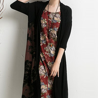 Black Dye-Print Open Front Knit Cardigan