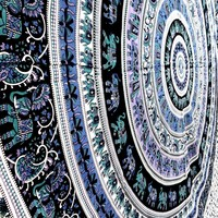 Large Blue Round Elephant Tapestry Mandala Bedspread Hippie Wall Decor Beach Throw Dorm Decor Room Divider