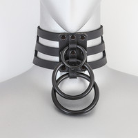 Black Leather 3 Strap Choker Necklace w/ 3 Black O Rings