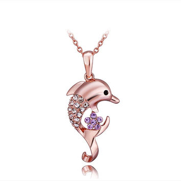 Rose Gold Plated Petite Dolphin Necklace