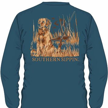 Southern Sippin Mans's Best Friend Pigment Dyed Unisex Pocket Long Sleeve T-Shirt
