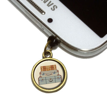 Vintage Luggage Suitcase Travel Mobile Phone Brass Charm