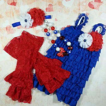 4th of July Romper, July 4th Outfit, Baby Lace Romper Set, Smash Cake Outfit, Lace Romper, Lace Romper Outfit, Photo Prop,Birthday Outfit,