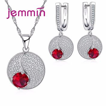 Jemmin Wedding Elegant Bridal Earrings+Necklace Sets Round Red&White CZ Setting Jewelry Sets S925 Sterling Silver Parure Bijoux