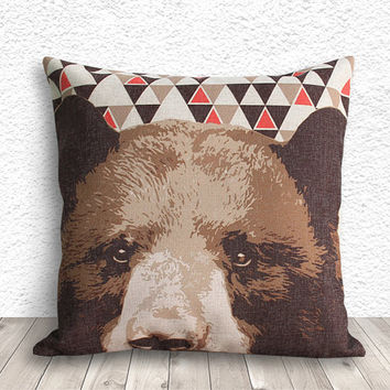 Pillow Cover, Pillow Case, Cushion Cover, Bear Pillow Cover 18x18 - Bear Geometric - 162