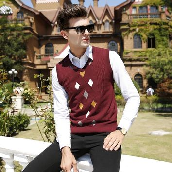 wool sweater vest 2017 new argyle patterns autumn winter mens casual cashmere men sleeveless knit vest male clothing