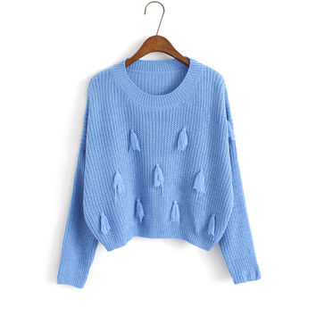 Korean Winter Women's Fashion Sweets Tassels Knit Tops Sweater [8216404161]
