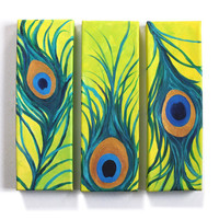 Whimsical art for home and office, 3 PEACOCK FEATHERS, Set of three 4x12 canvases