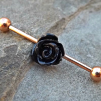 Rose Gold Industrial Piercing Black Rose Barbell 14ga Body Jewelry Ear Jewelry 316L Surgical Steel