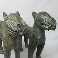 Old African Art Benin Bronze Leopards Antique, Collectible African Tribal Art