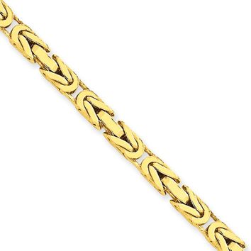 4mm, 14k Yellow Gold, Solid Byzantine Chain Necklace, 18 Inch
