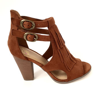 Best Foot Forward Fringe Bootie Heels in Cognac
