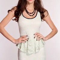 Mint Floral Lace Peplum Dress