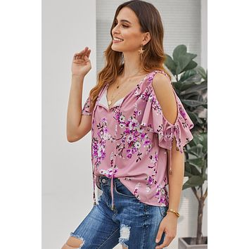 Rose Floral Love Stitch Lifetime Cold Shoulder Top