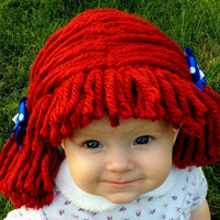 Raggedy ann wig, Baby hat, Halloween Costume, Baby wig,  baby costume, Raggedy ann costume, girl costume, baby hats, photo prop