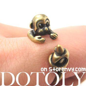 Monkey Animal Wrap Ring with Banana in Brass - Sizes 4 to 9 Available