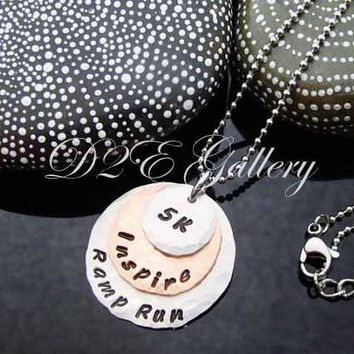 D2E Hand stamped runners marathon mixed metal layered disc necklace 5k athlete 13.1  26.2