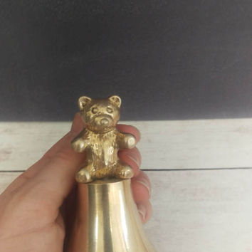 Brass Bear Bell/ Bear Decor/ Brass Bear/ Baby Bear/ Bear Nursery/ Bear Nursery Decor/ Brass Teddy Bear/ Gold Bear/ Bell/ Brass Bell