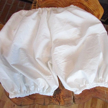 Prim Victorian Ladies WHITE COTTON BLOOMERS Prim Prairie Colonial Modest Apparel Knee Length Undergarment Sleepwear Lovely Unmentionable
