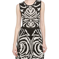 Sleeveless Graphic-Print Jacquard Dress, Black/Ivory