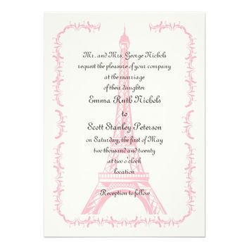 Paris wedding pink Eiffel Tower ivory invitation