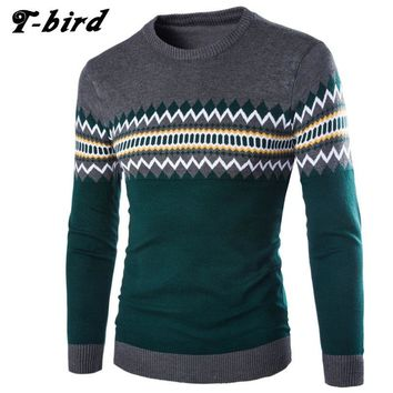 T-bird 2017 Fashion Brand Clothing Men Sweater Geometric Patterns O-Neck Slim Fit Casual Pullover Men Sweaters Knitting Mens SA8