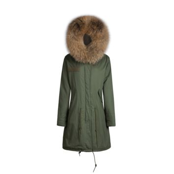 Raccoon Fur Collar Parka Jacket Natural 3/4