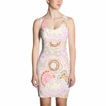 ART DRESS - Bold Beautiful Truly Unique * Soft Tones of Pink/Coffee Mandalas - DOLL