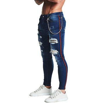 Gingtto Stripe Ripped Skinny Jeans For Men Classic Hip Hop Stretch Jeans Elastic Pant Designer Brand Fashion Slim Fit With Chain