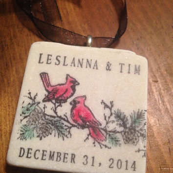 Cardinals Birds Personalized Ornament Keepsake Winter Snow Save the Date Wedding Favor Anniversary