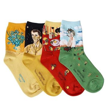 DCCK2JE OSABASA Womens Art Patterned Casual Crew Socks 1 or 4 or 5 Pack
