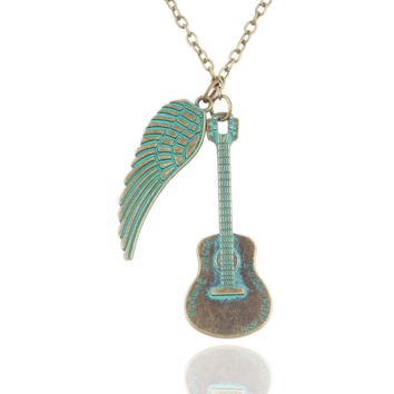 New fashion love guitar wings necklace jewelry pendant jewelry