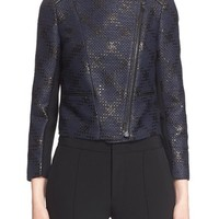 Yigal Azrouël Leather Trim Diamond Print Jacquard Jacket | Nordstrom